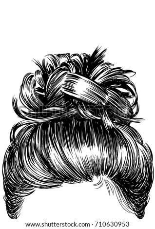 Messy Bun Hairstyles Stock Vector Royalty Free 710630953