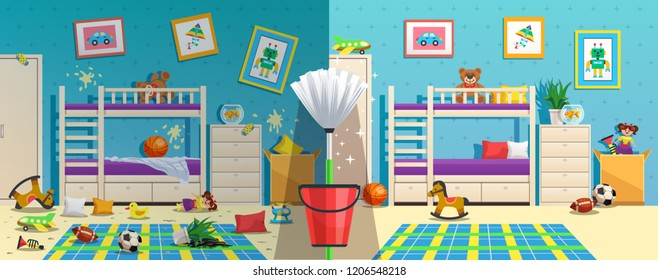 Messy children room with furniture and interior objects before and after cleaning flat vector illustration
