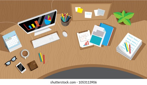 Messy cluttered office desk