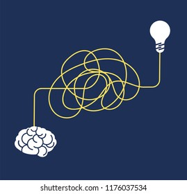 Messy complicated way. Confused process, chaos line symbol. Tangled scribble idea, insane brain vector concept. Way to mind and idea, line to brain illustration
