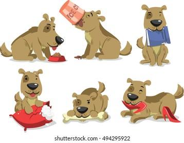 messy dog eating things vector cartoon
