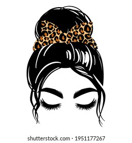 Messy hair bun with leopard bandana or headwrap, vector woman silhouette. Beautiful girl drawing illustration. Female hairstyle. Long black lashes, closed eyes isolated on white.