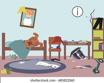 messy kids room - funny vector cartoon illustration