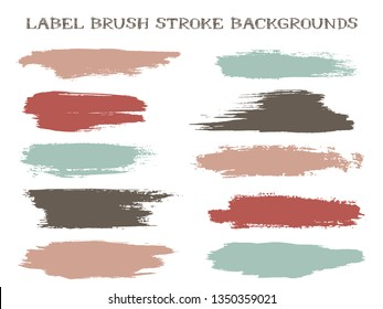 Messy label brush stroke backgrounds, paint or ink smudges vector for tags and stamps design. Painted label backgrounds patch. Interior paint color palette samples. Ink smudges, stains, brown spots.