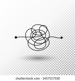 Messy line complicated clew way with transparent shadow Tangled scribble vector path Chaotic difficult process way illustration