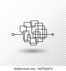 Messy line. Complicated clew way with transparent shadow. Tangled vector path. Chaotic difficult process way illustration
