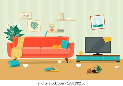 Messy living room interior. Furniture: sofa, bookcase, tv, lamps. Flat style vector illustration