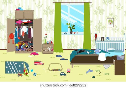Messy room where young family with little baby live. Untidy room. Cartoon mess in the room. Uncollected toys, things. Cleaning illustration. Vector
