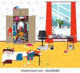 Messy room where young lady lives. Teenager or student girl untidy room in the morning. Cartoon mess in the room. Funny vector illustration