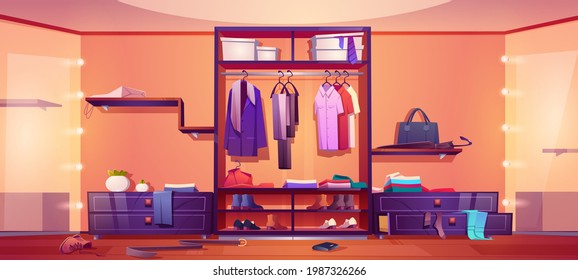 Messy walk-in closet, dressing room interior with scattered male and female clothes, shoes and accessories lying around the floor, stick up of drawers, chaos in wardrobe, Cartoon vector illustration