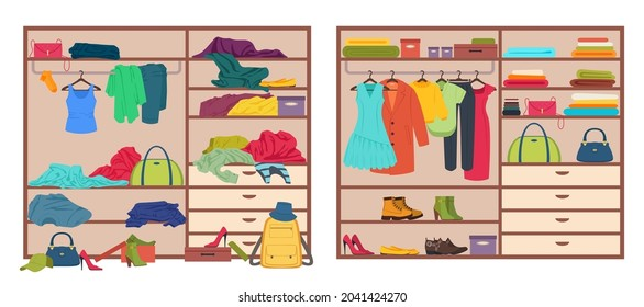 Messy wardrobe, open closet before and after organizing clothes. Tidy or untidy wardrobe, clothing declutter and organization vector illustration. Arranged and scattered outfits and accessories