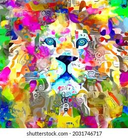 Messy Watercolor Lion Portrait Painting