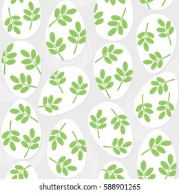 messy white eggs with leaf motif Easter illustration spring holiday seamless pattern on light background
