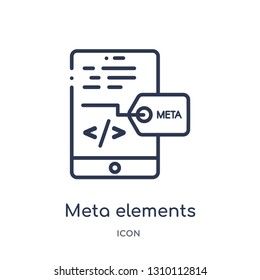 meta elements icon from technology outline collection. Thin line meta elements icon isolated on white background.