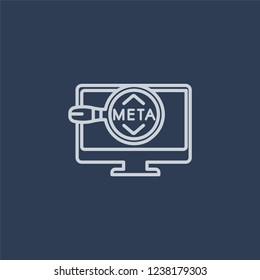 Meta Elements icon. Trendy flat vector line Meta Elements icon on dark blue background from Technology collection.