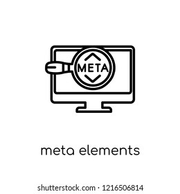 Meta Elements icon. Trendy modern flat linear vector Meta Elements icon on white background from thin line Technology collection, editable outline stroke vector illustration