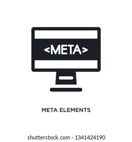 meta elements isolated icon. simple element illustration from technology concept icons. meta elements editable logo sign symbol design on white background. can be use for web and mobile