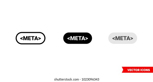 Meta icon of 3 types: color, black and white, outline. Isolated vector sign symbol.