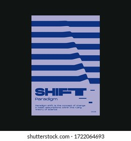 Meta modern aesthetics of Swiss design poster layout. Brutalist art inspired vector graphic template made with bold typography and abstract geometric shapes, great for poster art, album cover prints.