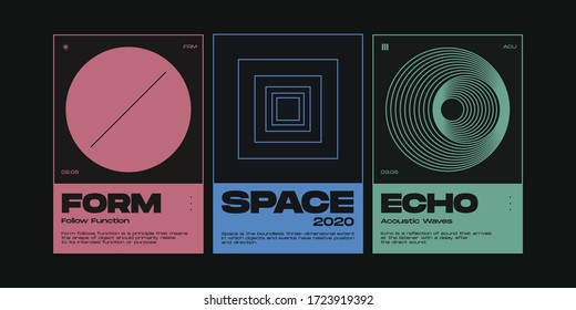 Meta modern aesthetics of Swiss design poster collection layout. Brutalist art inspired vector graphic template set made with bold typography and abstract geometric shapes.