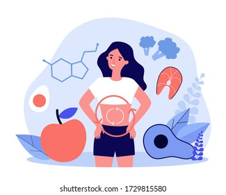 Metabolism of human organism flat vector illustration. Cartoon young woman eating diet food for energy. Digestion, metabolic system and hormones concept