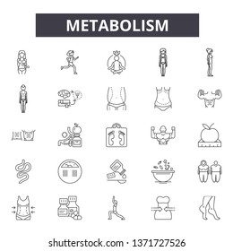 Metabolism line icons, signs set, vector. Metabolism outline concept, illustration: metabolism,fitness,healthy,weight,diet,health,metabolic
