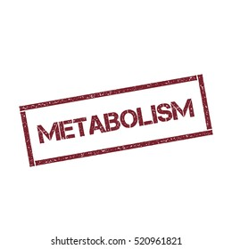 Metabolism rectangular stamp. Texturised red stamp with metabolism text isolated on white background, vector illustration.