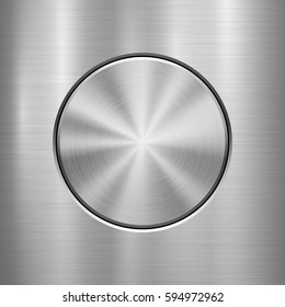 Metal abstract technology background with circle for and polished, brushed texture. Vector illustration.