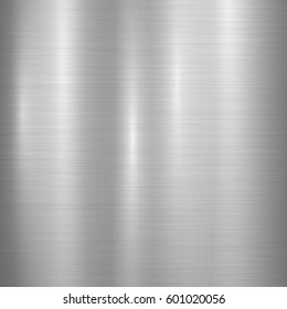 Metal abstract technology background with polished, brushed texture. Vector illustration.