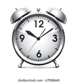 Metal alarm clock.Vector.