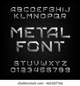 Metal alphabet font. Chrome effect letters and numbers. Tough vector typeface for your design.