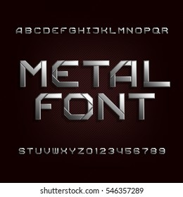 Metal alphabet font. Chrome effect letters and numbers on a dark bacgkround. Tough vector typeset for your design.