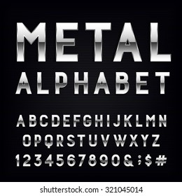 Metal Alphabet Font. Type letters, numbers and punctuation marks. Chrome effect symbols on dark background. Vector typeset for headlines, posters etc.