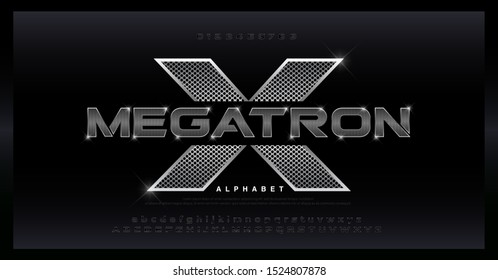 Metal Alphabet silver Font. Typography 3D stainless hole steel silver fonts for technology, digital, movie, sport logo design. vector illustration
