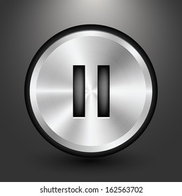 Metal audio button icon design, Vector image on grey background.