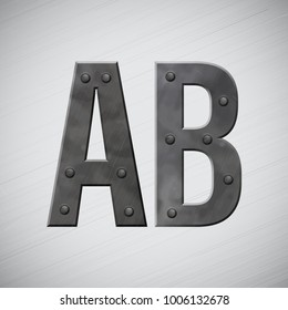 Metal A B symbols with bolts. Vector illustration.