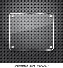 Metal background with glass frame for your text