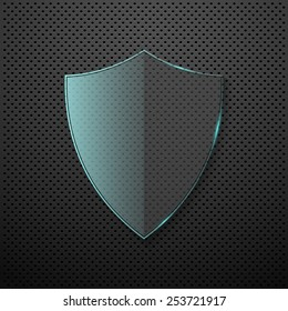 Metal background with glass shield. Vector