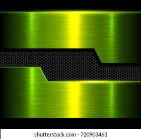 Metal background, green polished metallic texture, vector illustration