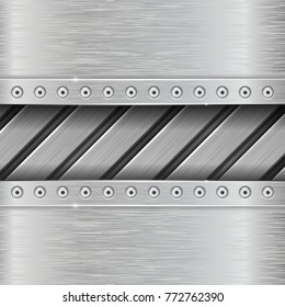 Metal background with stripes and rivets. Vector 3d illustration