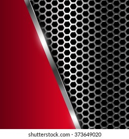 Metal background. Vector geometric pattern of hexagons