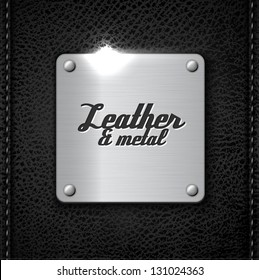 Metal badge on leather background - eps10