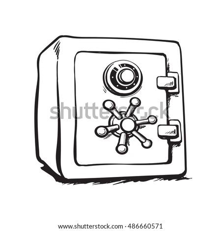 Metal Bank Safe Black White Hand Stock Vektorgrafik Lizenzfrei