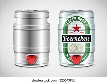 Metal beer keg with grained and shadow, vector illustration.