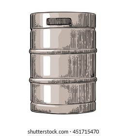 Metal beer keg. Vintage vector engraving illustration for web, poster. Isolated on white background.