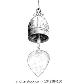 metal bell in Buddhist temple, sketch vector graphics monochrome illustration on white background