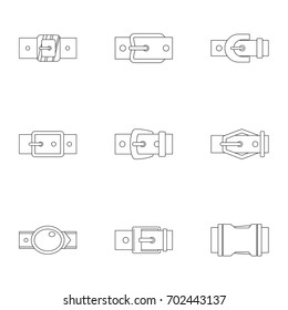 Metal belt buckle icon set. Outline set of 9 metal belt buckle vector icons for web isolated on white background
