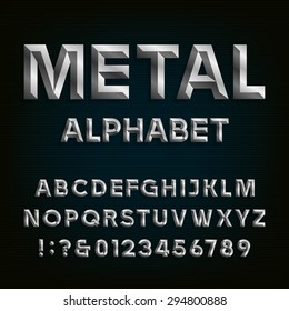 Metal Beveled Alphabet. Letters, numbers and punctuation marks on a dark background. Stock vector font for your headlines, posters etc.