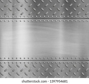 Metal blank polished plate with rivets and pattern. Vector steel background.