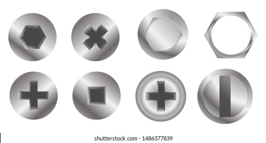 Metal bolt heads. Set of different screw heads types isolated on white background. Industrial top view bolts, screws. Vector illustration eps 10.